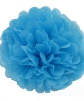 Blauwe pompom versiering 35 cm trend