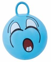 Blauwe skippybal met gezicht 45cm trend