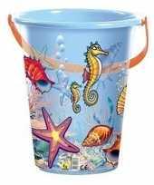 Blauwe speelgoed strandemmer schelpen zeedieren trend