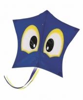 Blauwe vlieger met ogen 74 cm trend