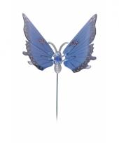 Blauwe vlinder op stok 20 cm trend