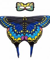 Blauwe zwaluwstaart vlinder verkleedset voor meisjes trend