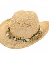 Bloemenkrans cowboyhoed van stro trend