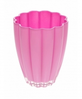 Bloemvorm vaas roze glas 17 cm trend