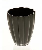 Bloemvorm vaas zwart glas 17 cm trend