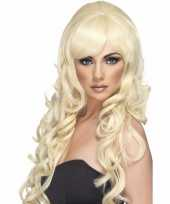 Blonde damespruik lang met krullen trend