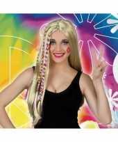 Blonde hippie flower power verkleed pruik voor dames trend