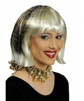 Blonde korte bob met luipaardprint pruik trend