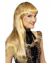 Blonde lange pruik met luipaardprint trend