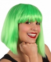 Bobline pruik voor dames lime groen trend
