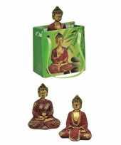 Boeddha beeld rood goud in cadeautasje 8 cm trend