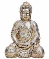 Boeddha beeldje antiek zilver 41 cm woondecoratie trend