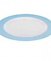 Bord plat melamine wit met blauwe rand 23 cm trend