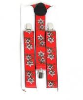 Bretels in het rood met edelweiss bloem trend