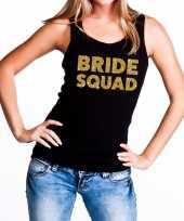 Bride squad gouden vrijgezellenfeest tanktop mouwloos shirt zw trend