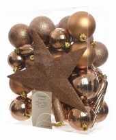 Bronze kerstballen set inclusief piek trend