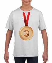 Bronzen medaille kampioen shirt wit jongens en meisjes trend