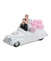 Bruiloft figuurtjes 15 x 9 cm roze bloemen trend