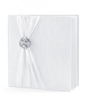 Bruiloft gastenboek wit met rozet trend