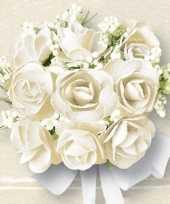 Bruiloft servetten met witte rozen 60x trend