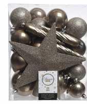 Bruin kerstballen pakket met piek 33 stuks trend