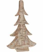 Bruin witte houten kerstboom 42 cm trend