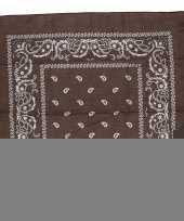 Bruine bandana zakdoek 55 x 55 cm trend