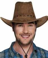 Bruine cowboyhoed elroy lederlook voor volwassenen trend