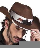 Bruine cowboyhoed texas koeienprint voor volwassenen trend
