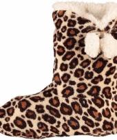 Bruine dames slof sokken met luipaardprint trend