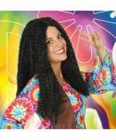 Bruine hippie flower power verkleed pruik voor dames trend