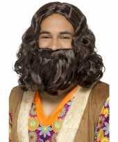 Bruine hippie pruik en baard voor heren trend
