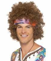 Bruine hippie pruik met haarband voor heren trend