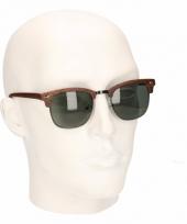 Bruine houtlook heren zonnebril model 040 trend