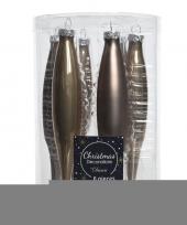 Bruine kerstballen pegels glas 15 cm trend