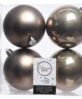 Bruine kerstversiering kerstballen kunststof 10 cm trend