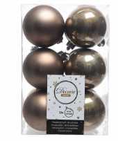 Bruine kerstversiering kerstballen kunststof 6 cm trend