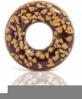 Bruine opblaasbare chocolade donut zwemband 114cm trend
