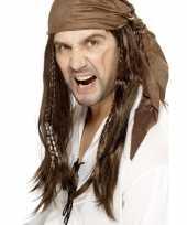 Bruine piratenpruik met bandana voor heren trend