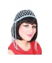 Buikdanseres blauw haarnetje met kralen trend