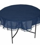 Buiten tafelkleed rond donkerblauw 160 cm trend