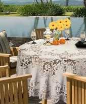 Buiten tafelkleed tafellaken ivoor wit amira 180 cm rond trend