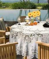 Buiten tafelkleed tafellaken wit amira 180 cm rond trend