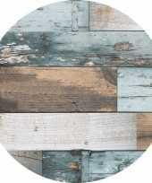 Buiten tafelkleed tafelzeil blauw hout print 160 cm rond trend
