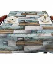 Buiten tafelkleed tafelzeil blauw houten planken 140 x 250 cm trend
