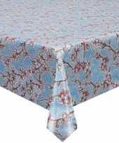 Buiten tafelkleed tafelzeil blauw kersenbloesem 120 x 250 cm trend