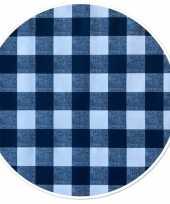 Buiten tafelkleed tafelzeil boeren ruit blauw 160 cm rond trend
