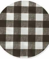 Buiten tafelkleed tafelzeil boeren ruit grijs 160 cm rond trend