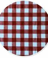 Buiten tafelkleed tafelzeil boeren ruit rood 160 cm rond trend
