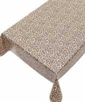 Buiten tafelkleed tafelzeil bruin luipaard print 140 x 240 cm trend